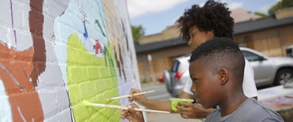 Creating the Sherman Park Rising mural in Milwaukee.